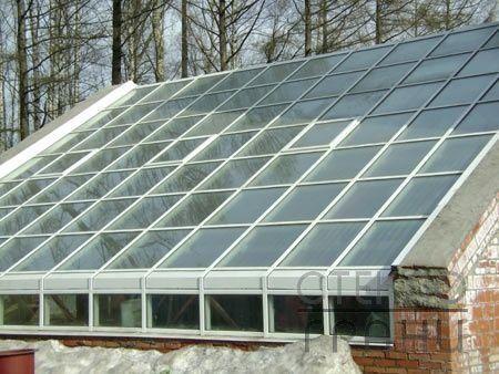 Стеклянная крыша для теплицы